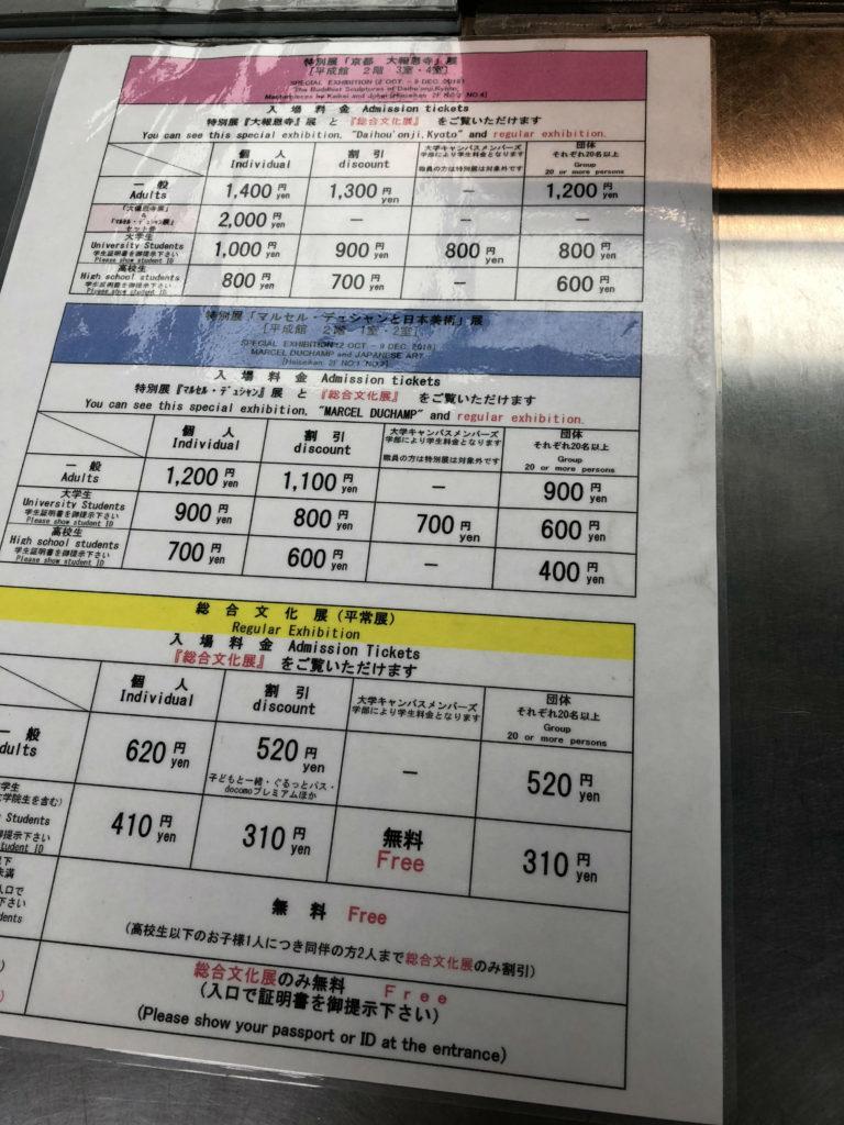 東京国立博物館 料金表